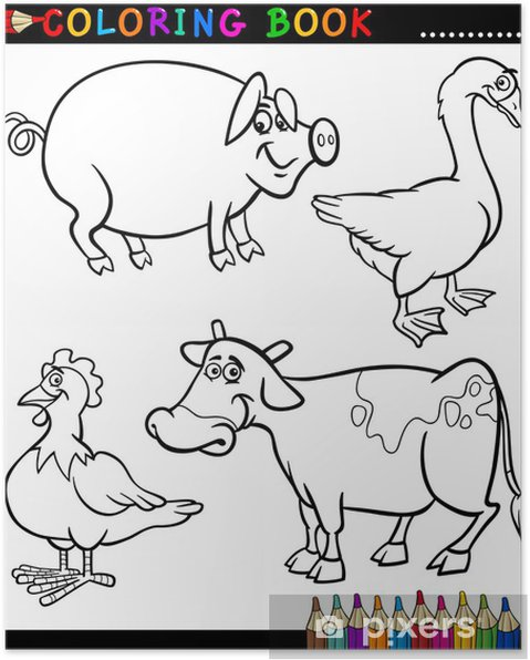 Póster Dibujos animados animales de granja para colorear Libro ...