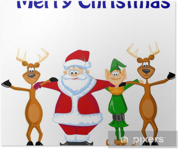Póster Dibujos Animados De Santa Claus Los Elfos Renos Pixers