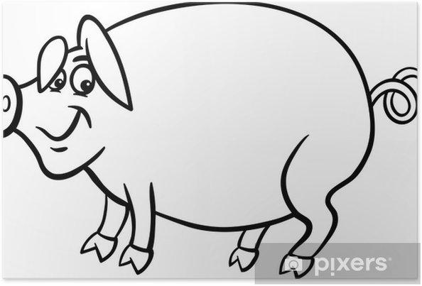 Póster Dibujos Animados Granja De Cerdos De Libro Para Colorear