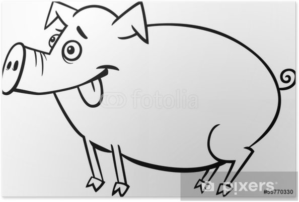 Póster Dibujos Animados Granja De Cerdos Para Colorear Pixers