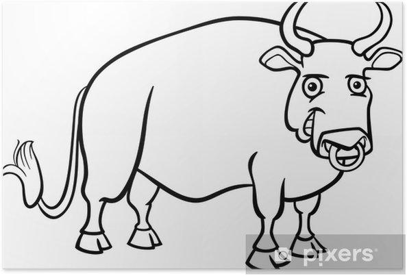 Póster Dibujos animados toro granja de libro para colorear • Pixers ...