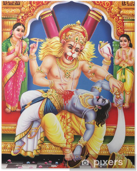 Poster Dieu indien narshingh awtar à son avis complet - Bâtiments publics