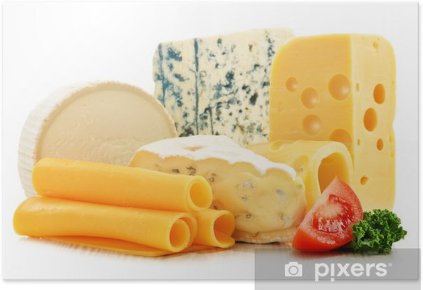 Póster Diferentes tipos de queso aislados sobre fondo blanco - Queso