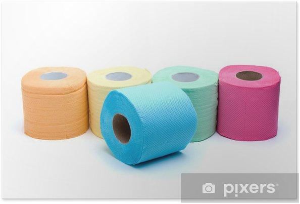 Poster Différents Rouleaux De Papier De Toilette Couleur