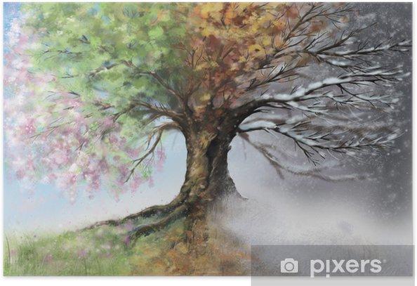 Digital illustration of four seasons tree Poster - iStaging