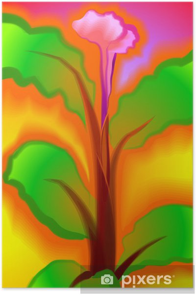 Digital Painting Of Flower In Colour Background Poster Pixers