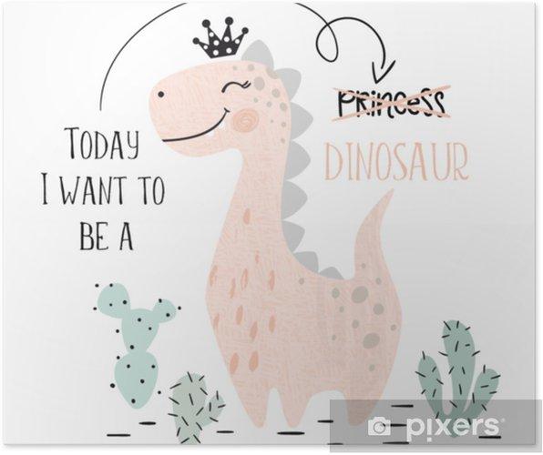 Póster Dinosaurio bebé niña linda impresión. dulce princesa dino con corona. ilustración de brachiosaurus fresco - Animales