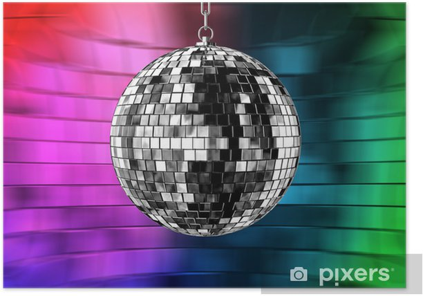 Disco Ball With Lights Retro Party Background Poster