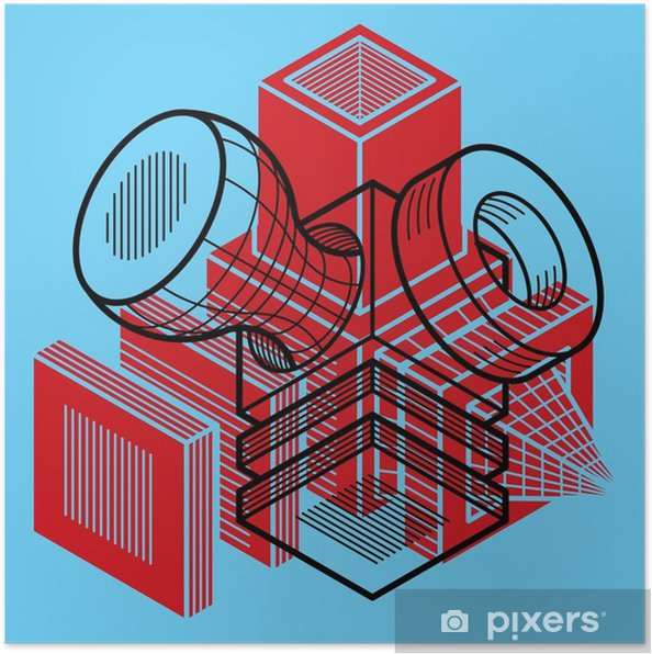 Póster Diseño 3D, ilustración vectorial tridimensional en forma de cubo. - Recursos gráficos