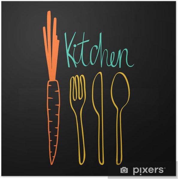 Póster Diseño de la cocina del Doodle. Cubiertos ilustración vectorial - Temas