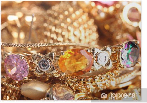 Poster Divers bijoux en or gros plan -