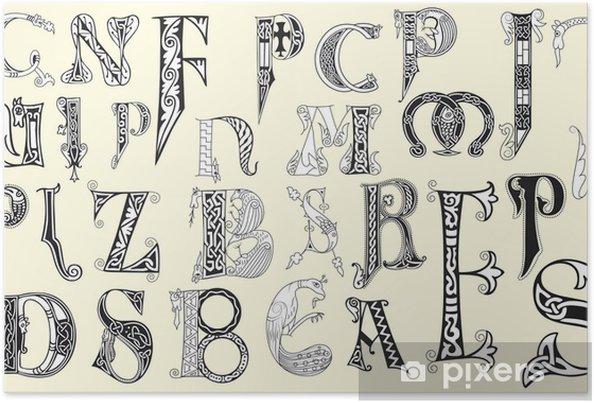 Poster Diverse middeleeuwse hoofdletters