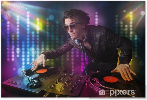 Póster Dj tocando canciones en una discoteca con show de luces - Entretenimiento