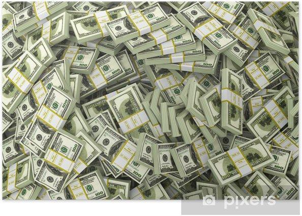 Poster Dollars. Contexte de packs hors de l'argent. - Finance