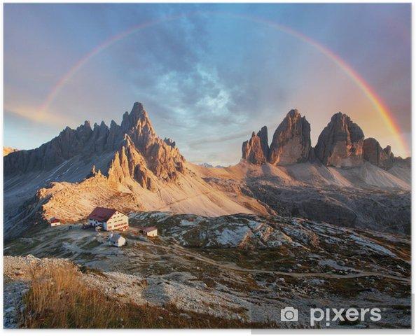 Poster Dolomieten berg in Italië bij zonsondergang - Tre Cime di Lavaredo - Regenbogen