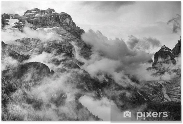Póster Dolomitas Montañas Blanco y Negro -
