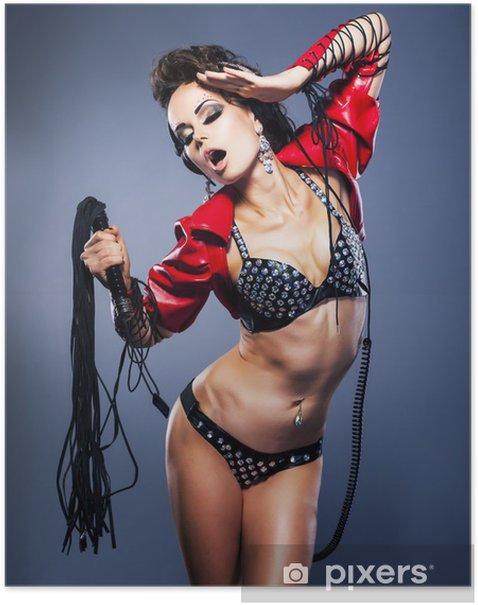 Poster Domination. Fétiche. Femme bizarre avec des cils fétiche - la tentation - Sous-vêtements