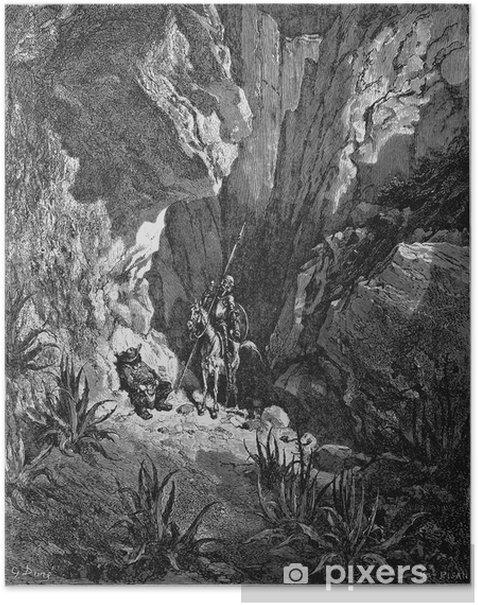 Poster Don Quichotte et Sancho dans la Sierra Morena - dessin 2 - Textures