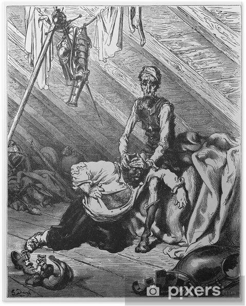 Poster Don Quichotte et Sancho dans le grenier - Textures