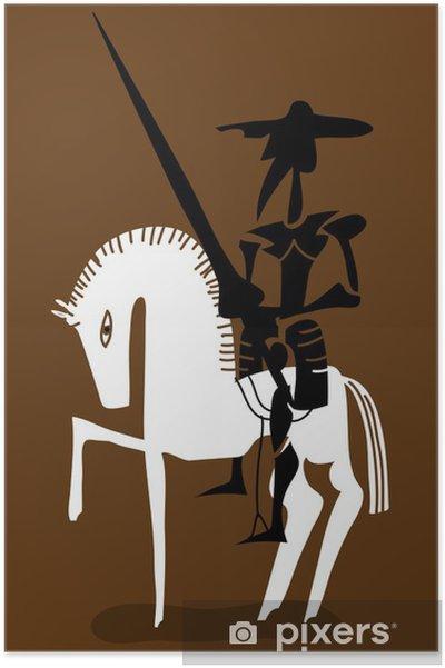 Poster Don Quijote och hans häst - Riddare