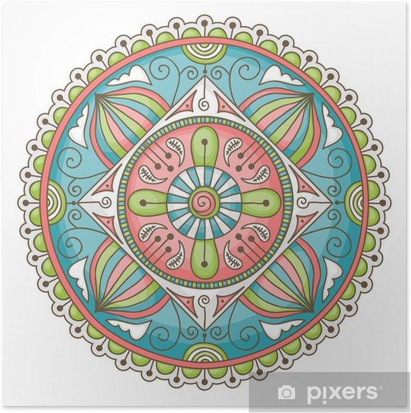Poster Doodle mandala - Muursticker
