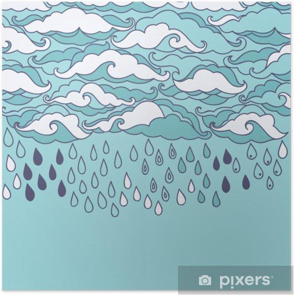 Poster Doodle regen achtergrond. cartoon behang - Landschappen