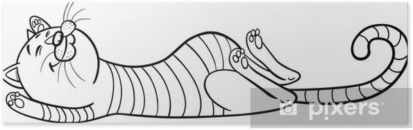 Póster Dormir Gato De Dibujos Animados Para Colorear Pixers