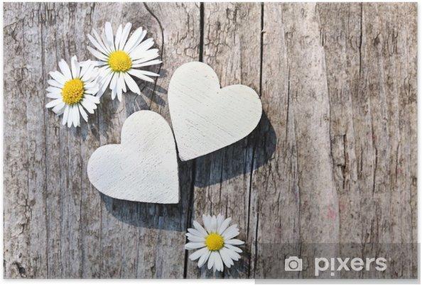 Póster Dos corazones blancos y margaritas - Entretenimiento