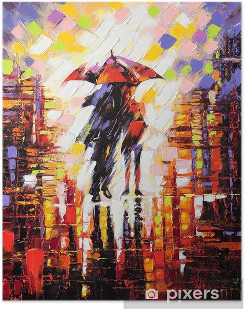 Póster Dos enamorados bajo un paraguas -