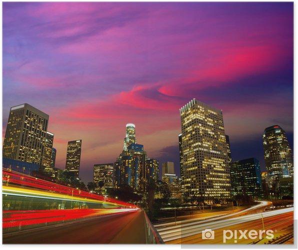 Poster Downtown LA nuit Los Angeles horizon coucher de soleil en Californie - Thèmes
