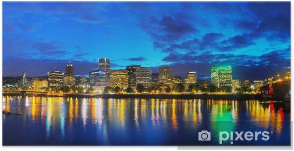 Poster Downtown Portland paysage urbain à la nuit - Amérique