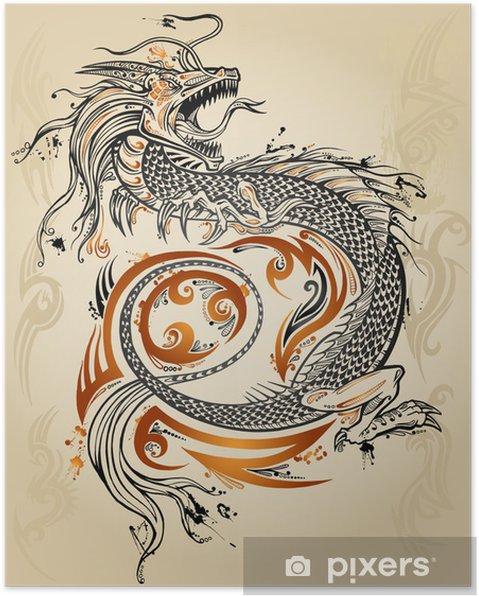 Poster Draak Schets van de krabbel Tattoo Icoon Tribal grunge Vector - Thema's