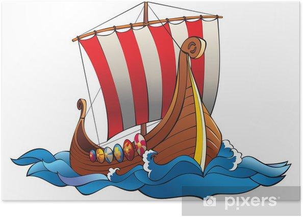 Drakkar (vikings battle longship) in the ocean, vector Poster - Boats