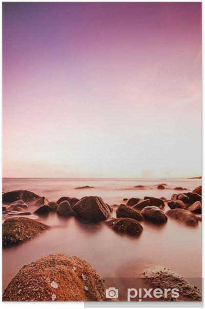 Poster Dramatisk solnedgång - Landskap