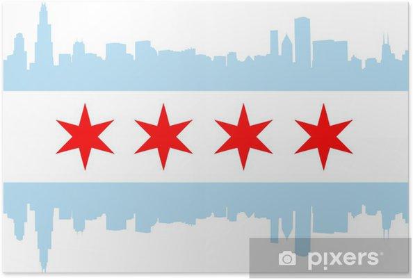 Poster Drapeau de Chicago - Amérique
