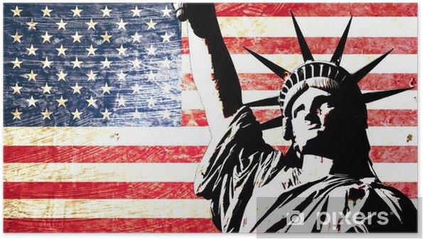 Póster Drapeau EE.UU. statue de la liberté -