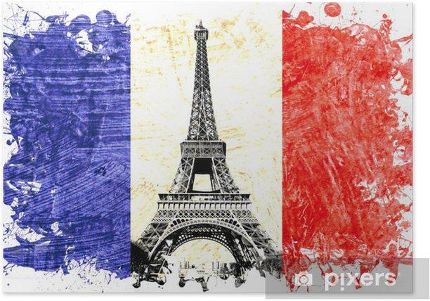 Poster Drapeau France paris tour eiffel - Sticker mural