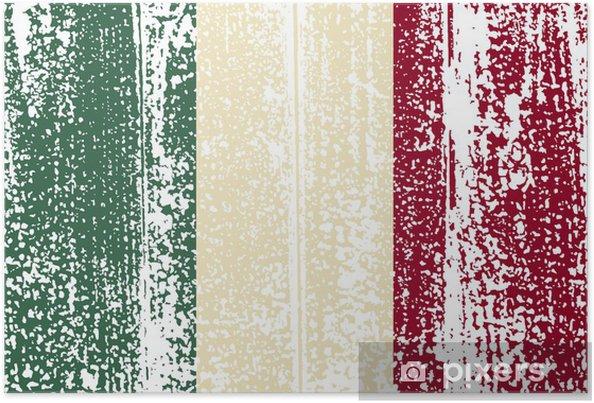 Poster Drapeau italien grunge. Vector illustration - Arrière plans