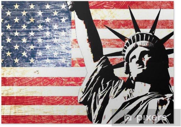 drapeau usa statue de la liberté Poster -