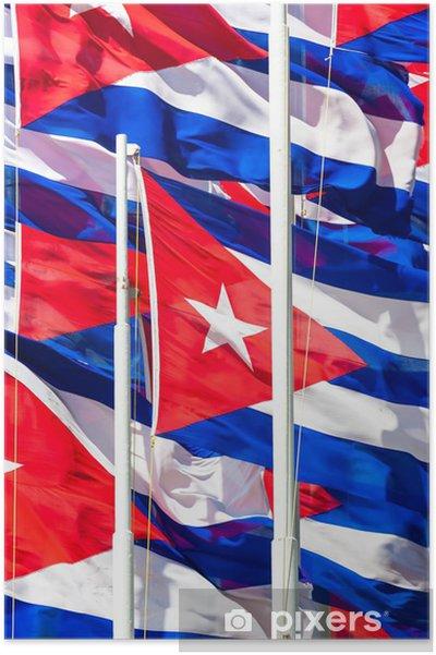 Poster Drapeaux cubains fond - Thèmes