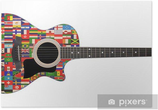 Poster Drapeaux du monde à la guitare acoustique - Musique