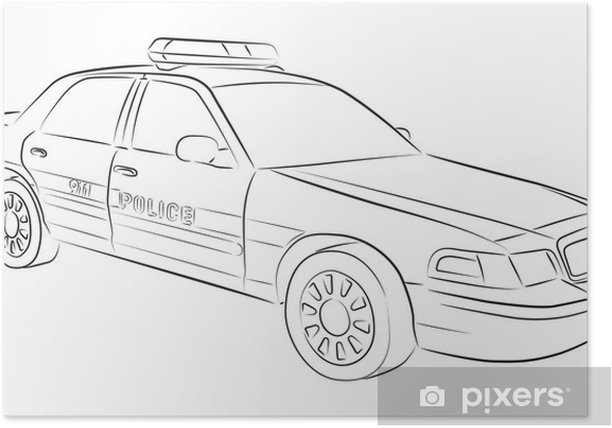 Drawing Of Police Car Poster Pixers We Live To Change