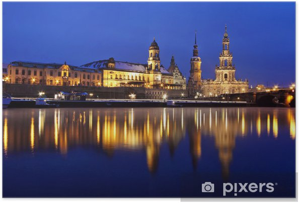 Poster Dresde par nuit - Europe