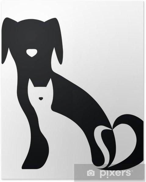 Poster Drôle de chien et de la composition des silhouettes de chat - Sticker mural