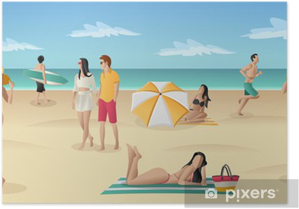 Poster Du beau monde sur la plage tropicale avec l'océan bleu - Vacances