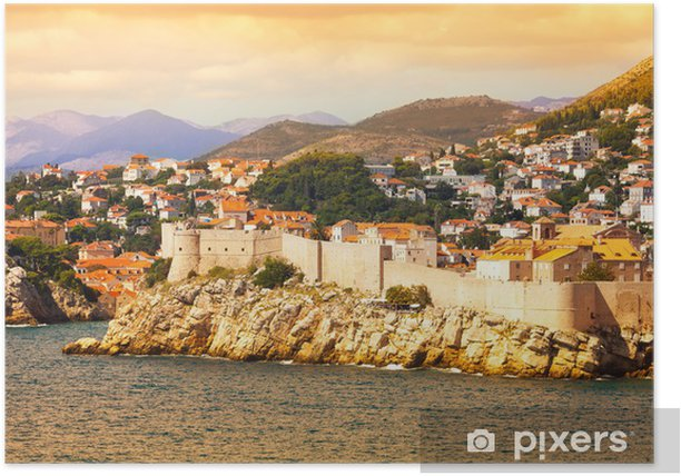 Dubrovnik fort from the sea Poster - Europe