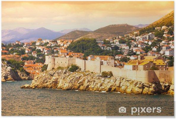 Póster Dubrovnik fortaleza desde el mar - Europa