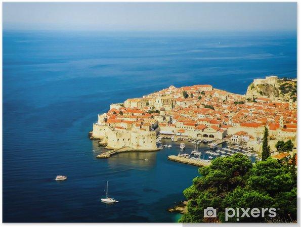 Poster Dubrovnik vue de la vieille ville avec le port - Europe
