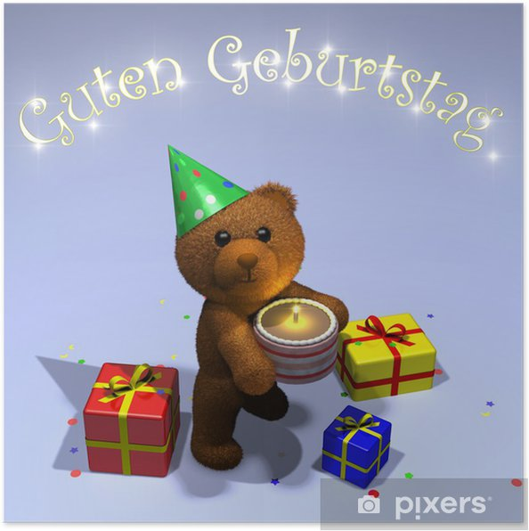 Poster Duitse Teddy Verjaardagskaart Jouyeux