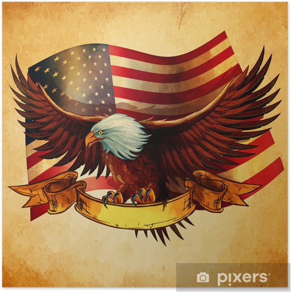 Poster EAGLE FLAG USA VINTAGE - Amerika